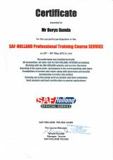 Сертификат SAF - Holland Professional Training Course Service